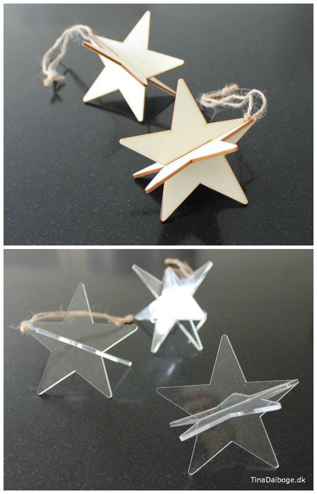 3D stjerner i træ og akryl