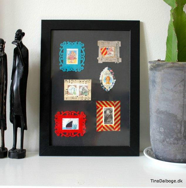 Collage med gamle frimærker