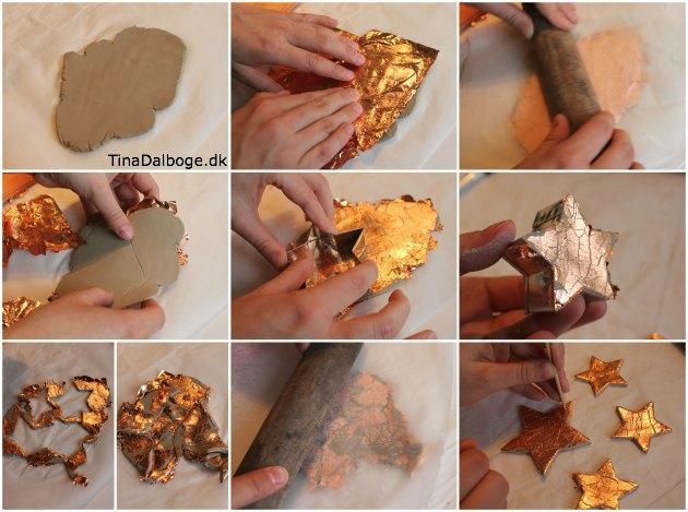 DIY lav selv stjerner af selvhaerdende ler og kobber i bladguld