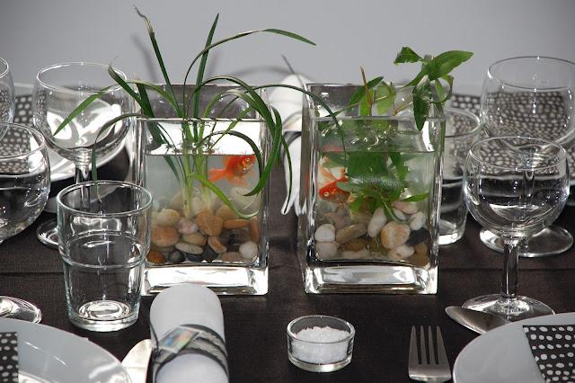 bordpynt med guldfisk