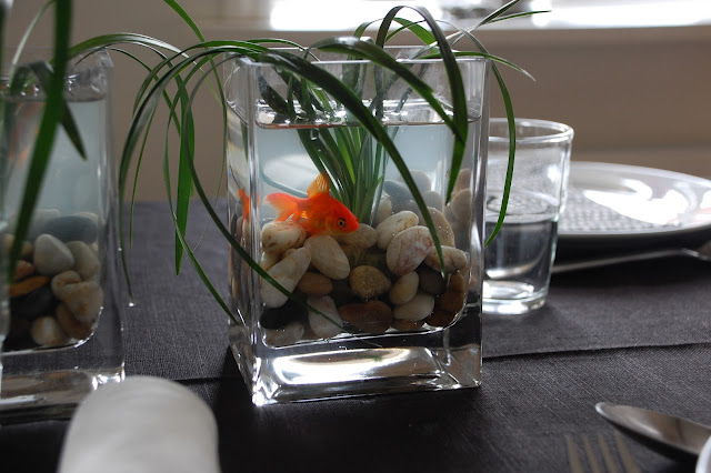 guldfisk som bordpynt