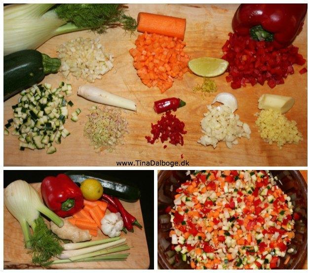 grøntsager hakket og skåret i meget små stykker