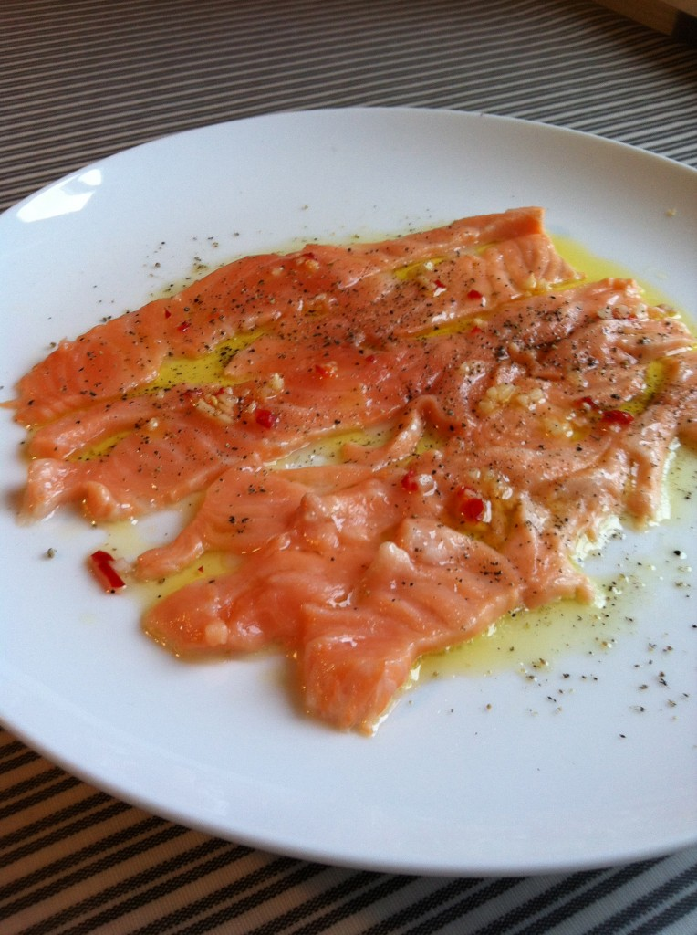 laksecarpaccio til forret