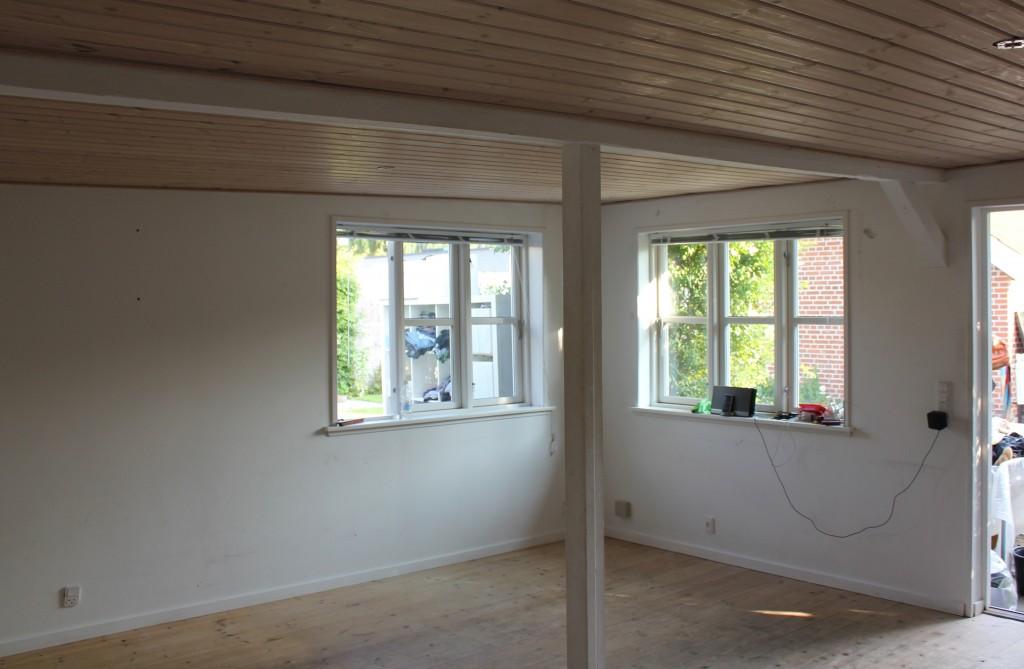 maling af træloft, vægge og trægulv