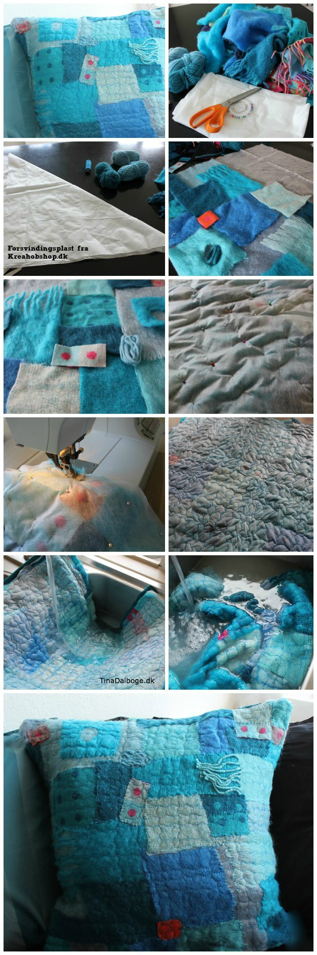 Ide med pude syet af stof - uld og garn syet sammen med forsvindingsplast VILENE fra Tina Dalbøges Kreahobshop.dk
