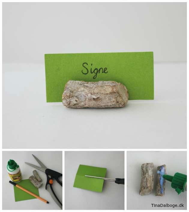 Idé til simpel bordkort med træ