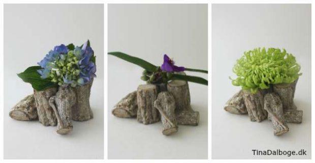 Idé til bordopsætninger med blomster og træ