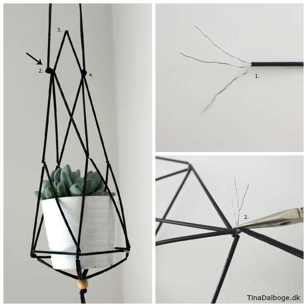 Inspiration til en ampel til planter lavet af konstruktionsrør
