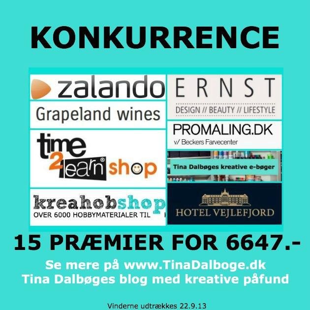 KONKURRENCE med flotte præmier på Tina Dalbøges kreative blog