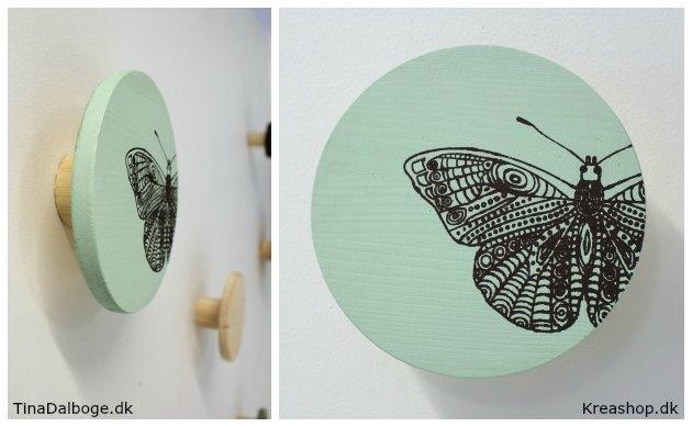 Knage i mint grøn malet med print