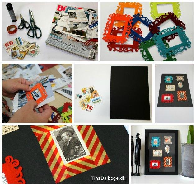 Kreativ ide med filtramme, gamle frimærker og Maskengtape