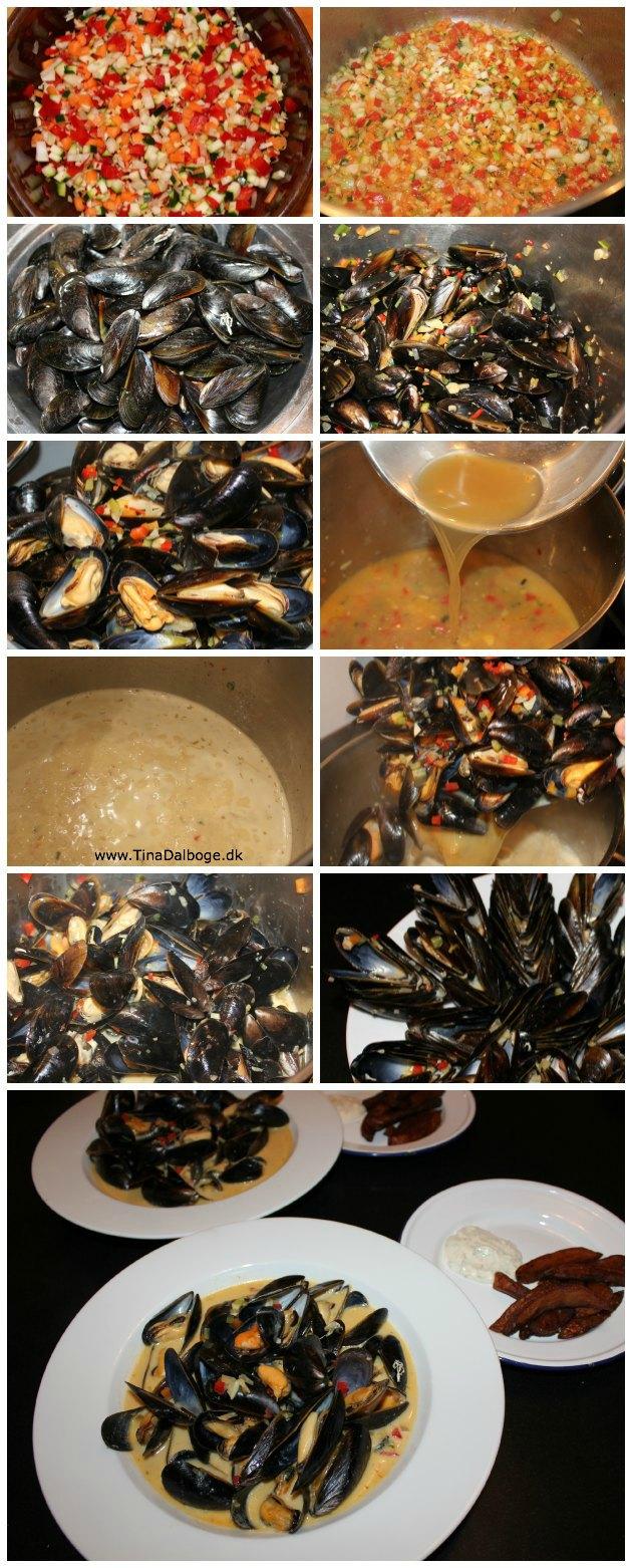 få opskriften og en masse billeder af hvordan du laver muslinger med pommes frites