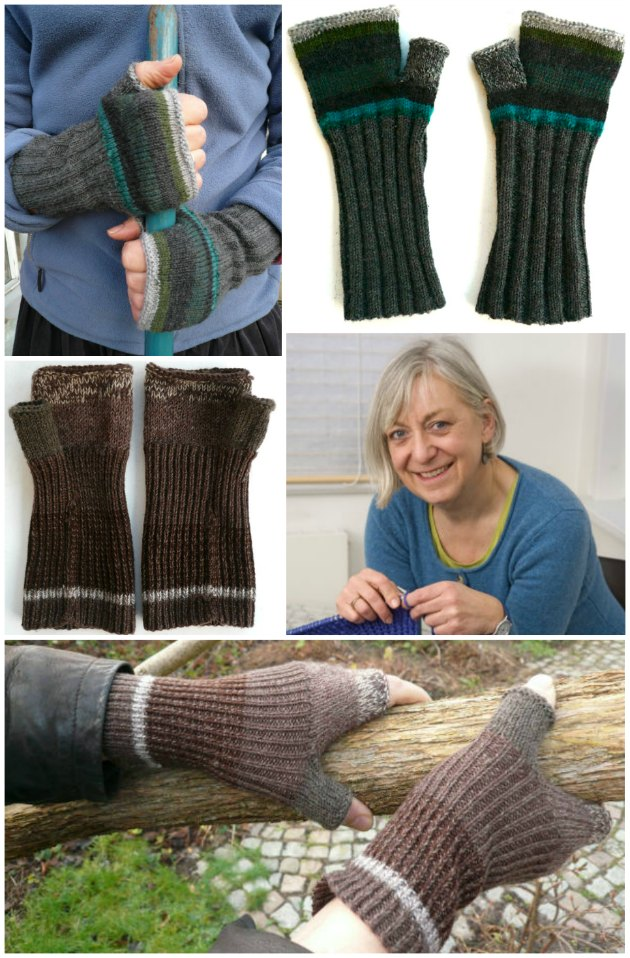 Muffedisser af gamle uldne sokker lavet om til vanter og hansker uden fingre