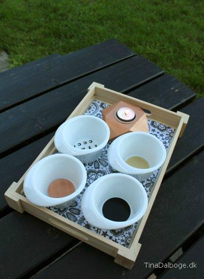 Porcelænsskaale med colordeco sort, guld, kobber og bogstaver