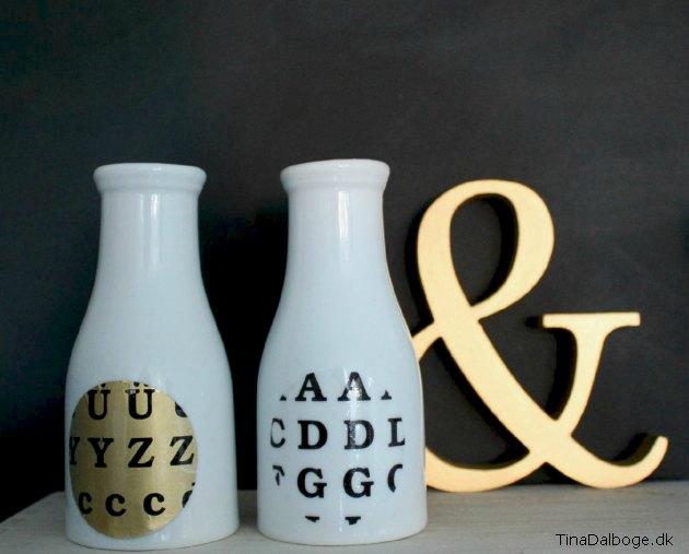 Porcelænsvaser med colordeco i gul og bogstaver