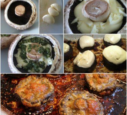 Porto bello svampe med hvidløg. pesto og mozzarella
