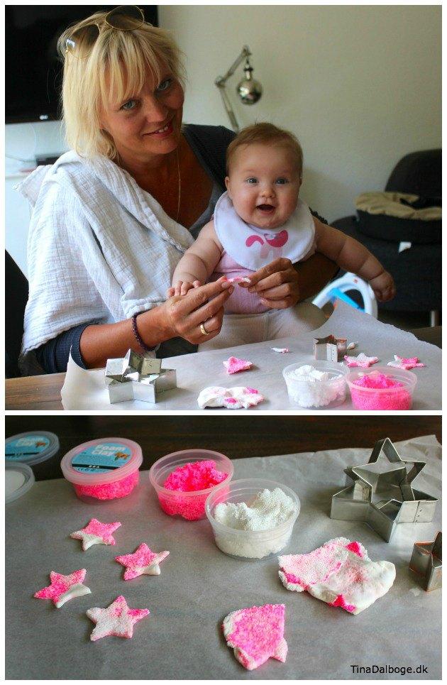 Pynt til barnedåb med stjerner i foam clay og silk clay - ide fra Tina Dalbøges kretive blog og materialer fra Kreahobshop.dk-3