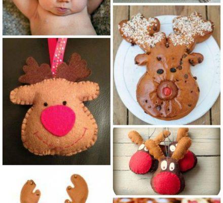 Rudolf babyhue, kage, filt figur julepynt