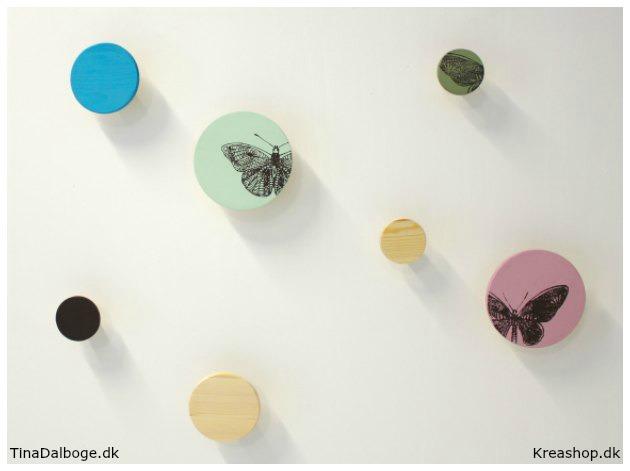 Runde knager i forskellige størrelser med farve og print