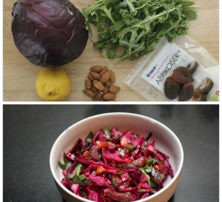 salat med rødkål og rucula