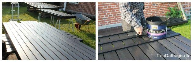 Stakit og stolper til udekøkken males til projekt ny terrasse hos Tina Dalboge