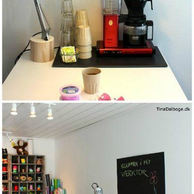 Tina Dalbøge byder på Moccamaster kaffe i Værktoret - det kreative værksted med tavlemaling og masser af kreative idéer
