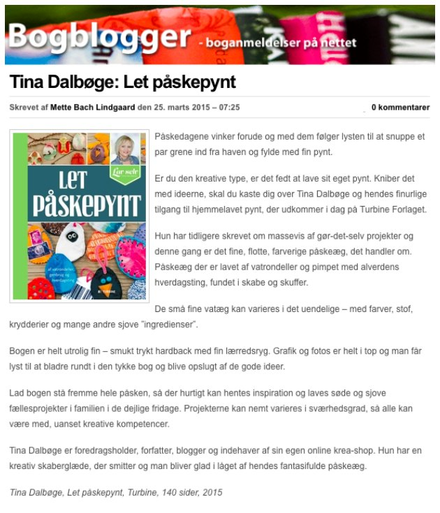anmeldelse af Tina Dalbøges bog Let Påskepynt fra Turbine