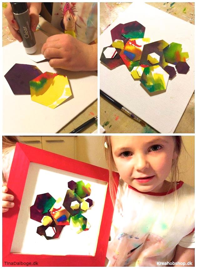 børn laver kunst med stansejern og akvarel til gaver kreahobshop