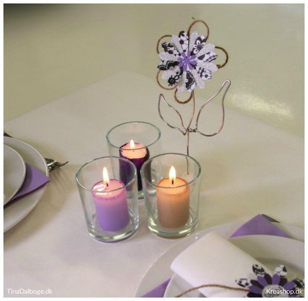 bloklys blomster til bordpynt til konfirmation