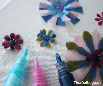 blomster af silkepapir og glitterlim kreativ ide for børn