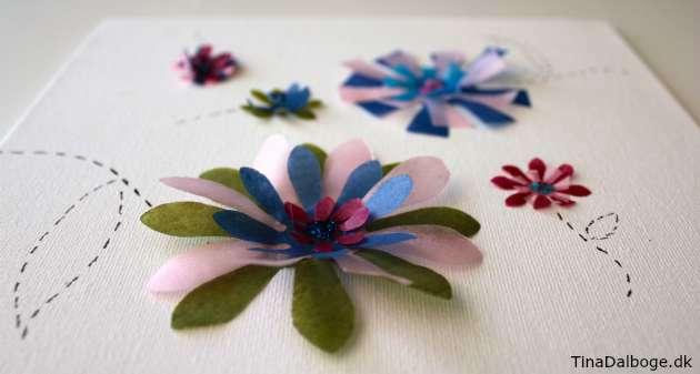 blomster lavet med stansejern af silkepapir kreativ ide for børn