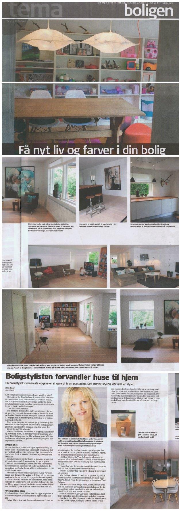 boligstylist Tina Dalbøges opgave med før og efterbilleder på en indretningsopgave i en avisartikel