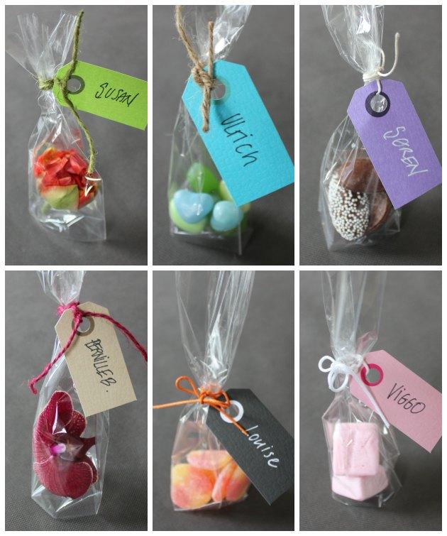 bordkort i små cellofanposer med manillamærker på til navne fra kreahobshop