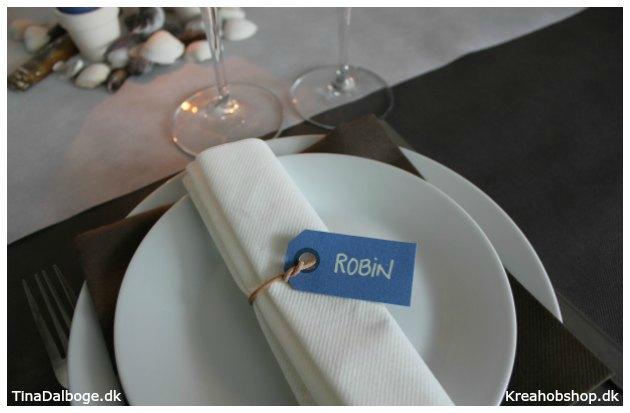 bordkort med strand og naturtema - dug servietter bordløber og pynt fra kreahobshop