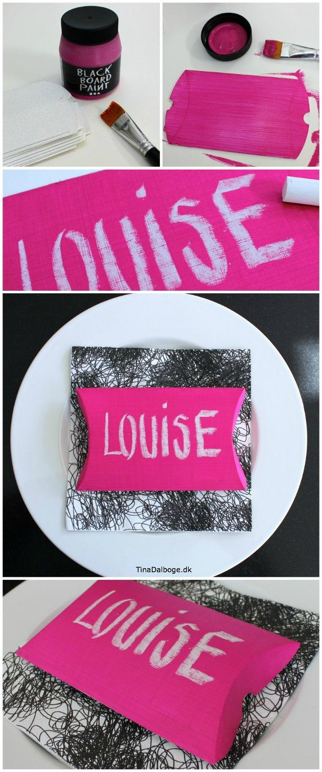 bordkort som lille æske med pink tavlemaling og navn med kridt