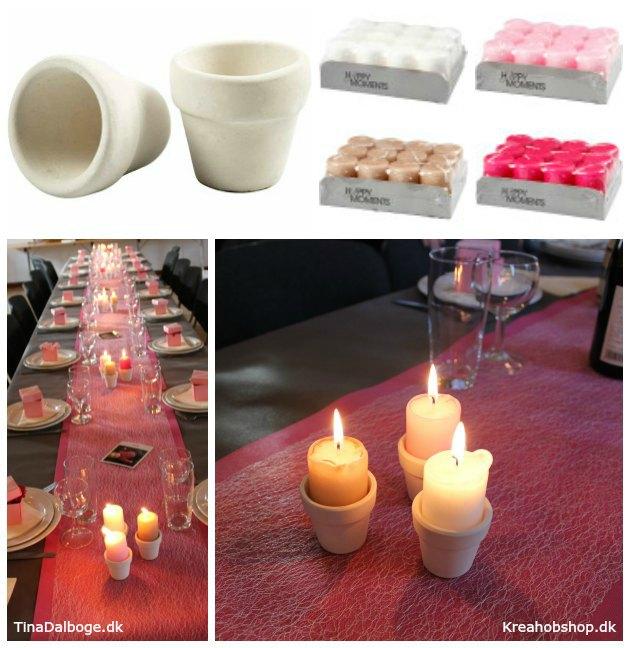bordpynt med stearinlys og blomster til fester konfirmation og barnedåb kreahobshop