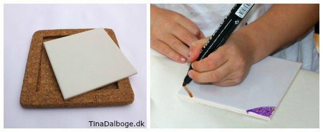 bordskåner i kork med porcelænskakkel til at male på med porcelæntuscher fra kreahobshop