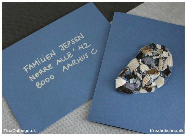 brevkort kurvert og invitation til fest med strand og natur tema materialer fra kreahobshop