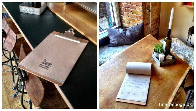clipboards til menukort på Cafe La Esquina