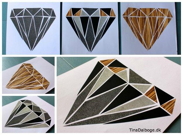 collage lavet ud af forskelligt papir med en form som en diamant
