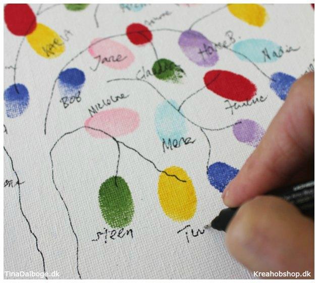 diy indslag til fest med gæsternes fingeraftryk - materialer fra kreahobshop