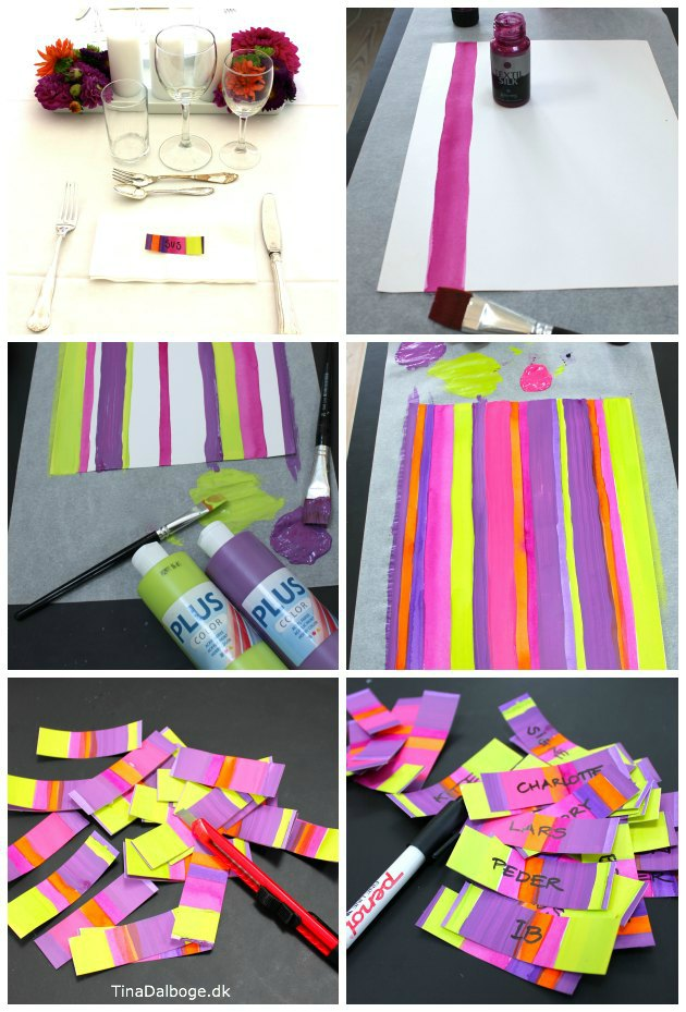farverige bordkort der passer til blomsterdekorationen med geoginer