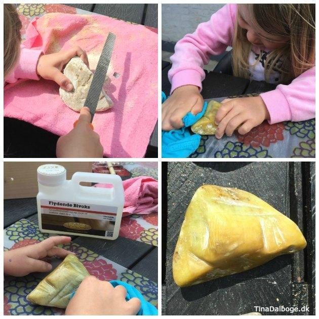 fedtsten kan poleres med bivoks - kreativ aktivitet børn kan lave