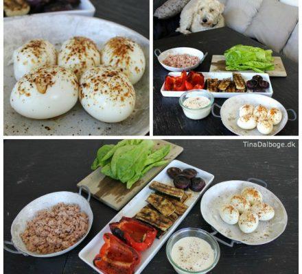 frokost-salat en sommerdag med æg, salat, tun, grillede løg, squash, peberfrugt og tun