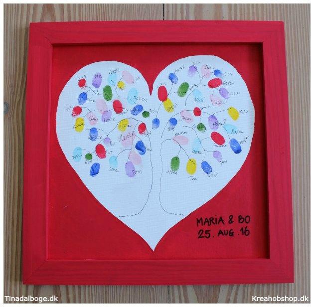 gæsters fingeraftryk med farve fra stempelpuder fra kreahobshop - indslag til fest