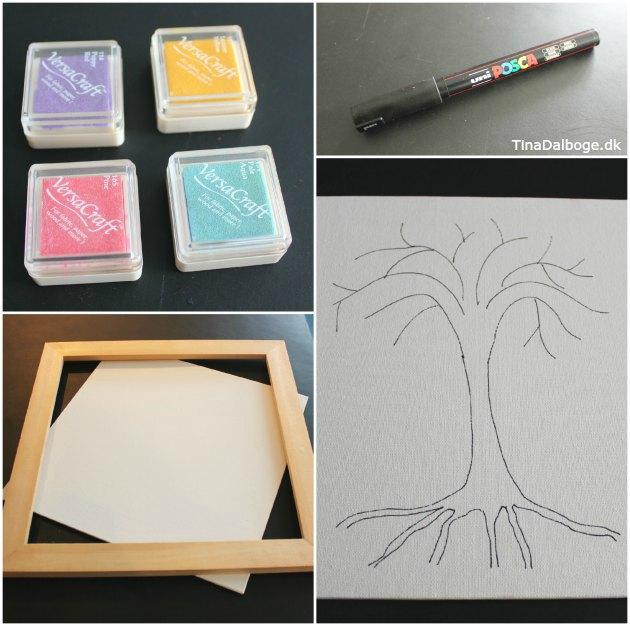 gæstetræ med fingeraftryk fra stempelpude indslag til fester