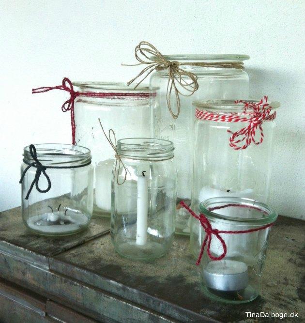 gamle og nye sylteglas brugt som lysgrotter til jul