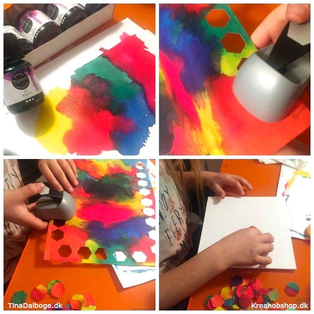 gaveide børn kan lave med akvarel og udstanser kreahobshop