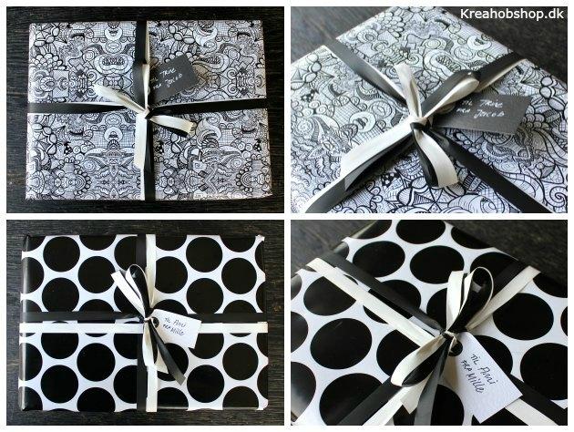 gaveindpakning i sort og hvidt med doodles og store prikker gavepapir fra kreahobshop