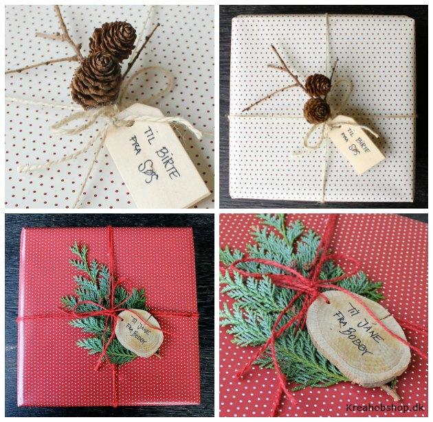 gaveindpakning med kogler og grønt gavepapir fra kreahobshop